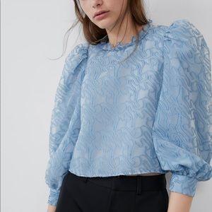 Zara puff voluminous sleeve top size large